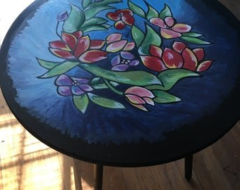 Hand painted floral side table