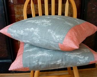 Grey White Scenic Landscape Clouds Pink Red Tsumugi Silk Vintage Japanese Wool Kimono Fabric Pillow Cushion