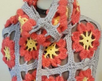 Sunburst Flower Shawl, Crochet Flower Wrap, Boho Flower Shawl