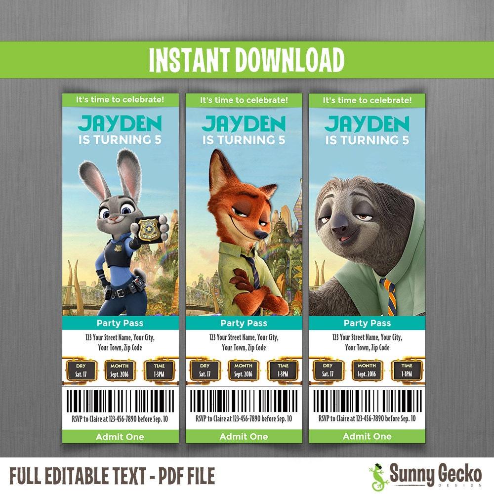 Zootopia birthday ticket invitations instant download and for Instant download invitations