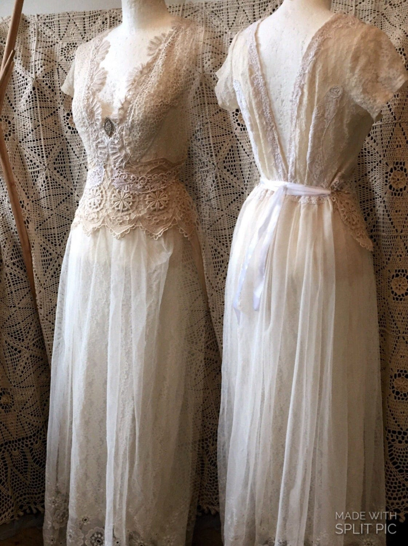 Vintage inspired wedding dress victorian cream and by for Vintage victorian wedding dresses