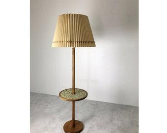 Vintage Mid Century Modern Gordon & Jane Martz Walnut Floor Lamp W/ Tile Table