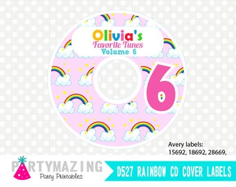 Personalized Rainbow Party Printable CD Labels for Avery Format 28669 , Instant Download -D527 HBCL1