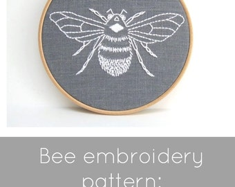 PDF embroidery pattern, bumblebee download, hand embroidery pattern, DIY needlecraft, bee embroidery pattern, bumblebee pattern, DIY bee