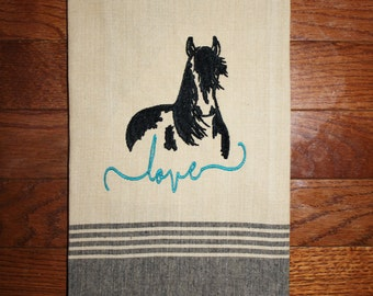 Love Horse Towel Western Kitchen Towel Horse Lover Gift Horse Decor