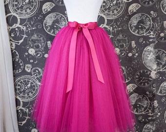 Hot Pink Tulle Skirt With Ribbon Waistband - Adult Tea Length Fuchsia Tutu - Midi Skirt - Custom Size, Made to Order