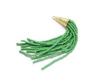 Handmade Bead Tassel - Green Czech Beads Tassel with 24K Gold Plated Hammered Cone Tassel Cap