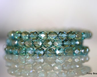6mm Faceted Round Czech Glass Beads, Aqua Luster Fire Polished Faceted Beads CZFB002