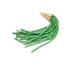 Beaded Tassel - Green Czech Beads Tassel with 24K Gold Plated Hammered Cone Tassel Cap