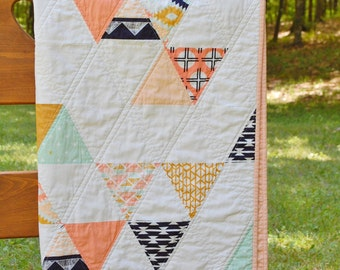 Southwestern Tribal Baby, Crib, Toddler Quilt in Arizona Fabric by April Rhodes for Art Gallery Fabric in Shades of Peach, Navy, Mint, Gold