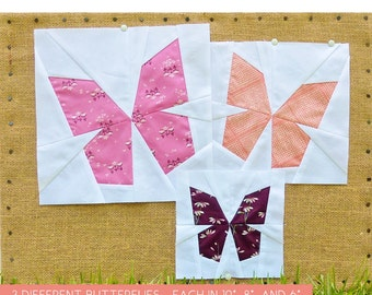"""Butterfly Block PDF Pattern - Three Paper Pieced Butterfly Blocks - 10"""", 8"""", and 6"""" Finished Sizes - Templates Included"""