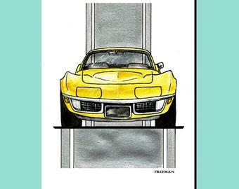 1970's Chevy Corvette Stingray car greetings card illustration print