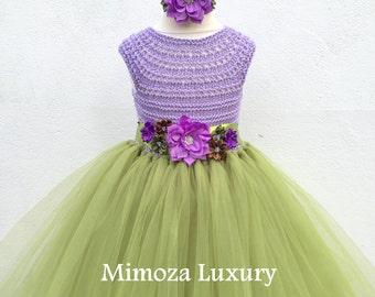 Woodland Fairy dress, woodland tutu dress, fairy princess dress, crochet top tulle dress, olive tutu dress