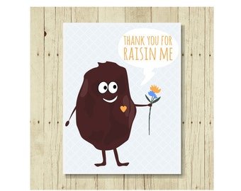 Funny Magnet, Food Pun, Thank You Magnets, Raisin, Gift for Mom, Gift for Dad, Cute Fridge Magnet, Cute Magnets, Gifts Under 10