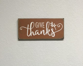 FREE SHIPPING! Give Thanks Sign - Primitive Thanksgiving sign - Primitive Signs