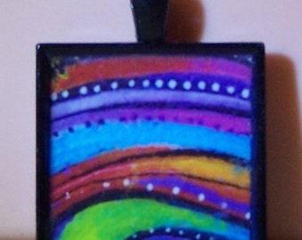 Stylized rainbow bezel pendant keychain necklace