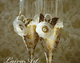 Gold Wedding Champagne Flutes Wedding Champagne Glasses  Gatsby Style Wedding Toasting Flutes Gold  Wedding