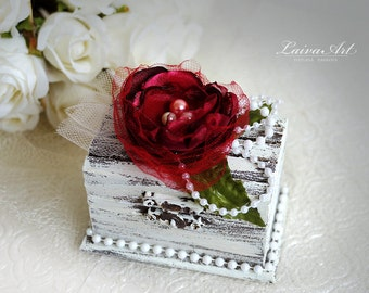 Personalized Wedding  Ring Bearer Pillow Box Burgundy Wedding Ring Pillow Box Rustic Ring Bearer Box Vintage Wedding