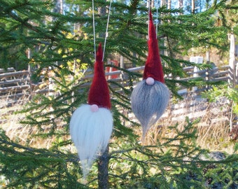 Swedish tomte ornament, jultomte, nisse, Swedish christmas gnome, christmas tree ornament, scandinavian christmas decoration, 100% wool