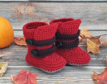 Crochet Baby Boots - Baby Winter Boots  - Infant Boots - Baby Strappy Boots - Baby Boy Boots - Baby Girl Boots - Size 3 Baby Boots