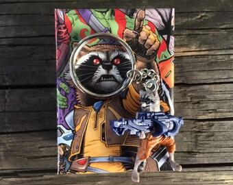 Marvel Guardians of the Galaxy Rocket Raccoon Mini-figure Key Chain With Custom Gift Box
