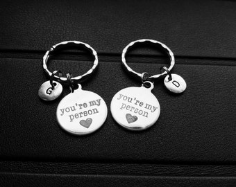 You're my person keychains, Set of two,Grey's Anatomy, Best friends gift, Boyfriend girlfriend gift, Bff gift,Keychain for couple