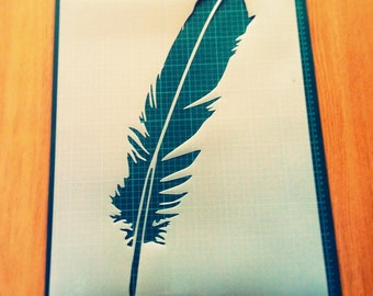 Feather reusable STENCIL for home wall interior decor
