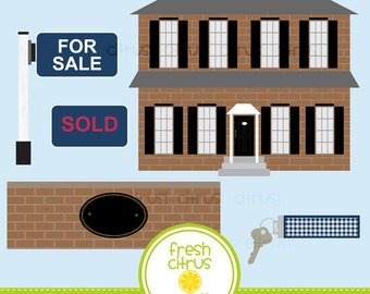 House Clip Art Colonial Brick Real Estate Key For Sale Moving