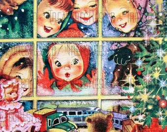 Children Looking In Window Of Toy Store Christmas Card #547 Digital Download