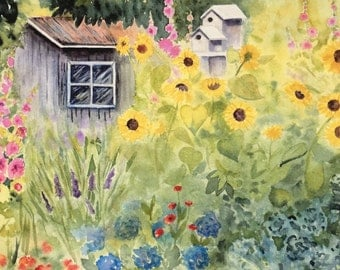 PRINT of an original watercolor painting garden flowers PRINT, Mother,Daughter, for her, wall art.birdhouse, shed, spring, summer,floral,