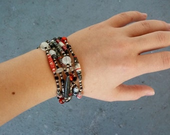 Black, White, and Red All Over - Beaded Necklace/Bracelet