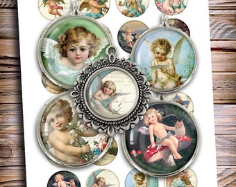Victorian Cherubs Printable 1 inch 25mm 1.5 inch images for bottle caps cabochons magnets Digital Collage Sheet Printable Download