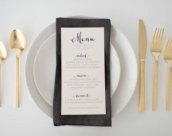 louisa wedding menus (sets of 10)  // navy neutral calligraphy custom romantic modern wedding menu