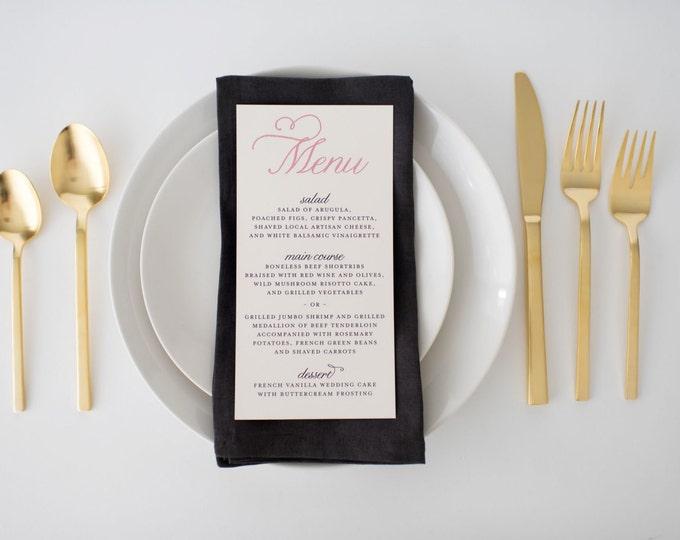 amelia wedding menus (sets of 10)  // classic custom pink navy calligraphy romantic modern wedding menu