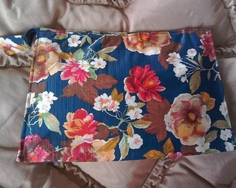 Vintage 1970s Floral Nylon Toilet Bag Bright Multi Coloured Flowers Gold Lining Metal Zip Fastening Large Toiletries Bag Retro As New
