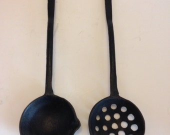 Vintage Cast Iron Ladle and Strainer with hook on handle for hanging