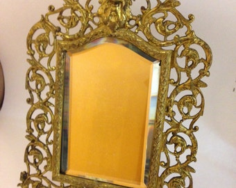 Antique Victorian Bacchus Gilt Table Mirror With Beveled Glass