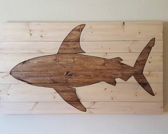 Wooden Fish Wall Art pallet wood shark wood animal wall art wood fish cutout
