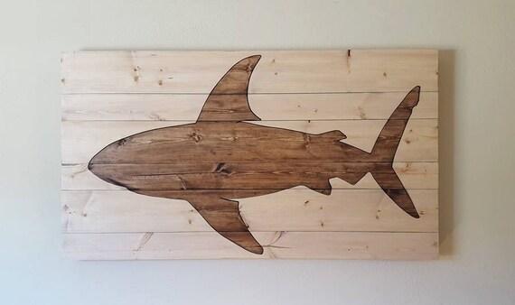 Shark Wall Art pallet shark pallet animal wall art 2 piece fish cutout