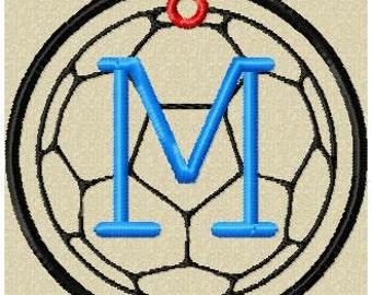 Machine Embroidery Design - Soccer Bag Tag, Zipper Pull