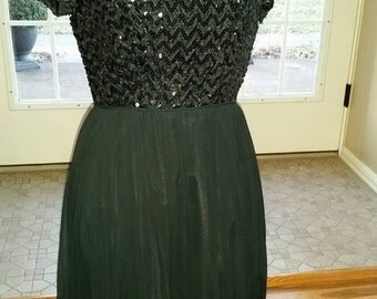 Elegant Early 60's Black Chiffon & Sequined Party Dress
