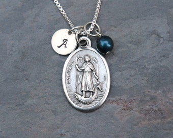 Archangel Saint St Raphael Necklace - Personalized - Swarovski Crystal Birthstone or Pearl - Patron of the blind, eye problems, pharmacists