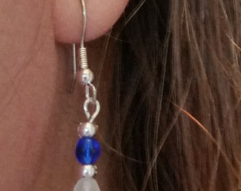 Red White and Blue Drop Earrings, Dangle, Silver, Fourth of July, July 4th, Independence Day, Patriotic, American Flag, Fireworks, Founders