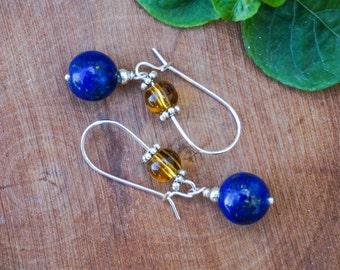 Lapislazuli and Citrine Earrings, Gemstone Earrings, Silver Plated Earrings, Blue Earrings,Earrings Hooks,Silver Earrings,Citrine Earrings