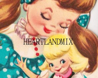 Young Girl and her Doll Vintage Digital Art Download Printable Image 300 DPI