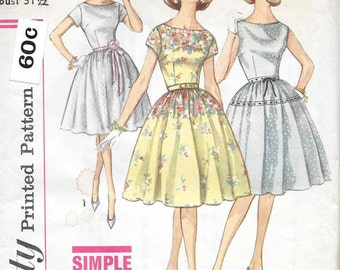 Vintage 1960s Simplicity sewing pattern 4302- Misses' Dress size 11 bust 31 1/2""