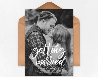 Save the Date Template for Photographers, Gold Save the Date Card Announcement, Engagement Photography - Photoshop Templates - SD021