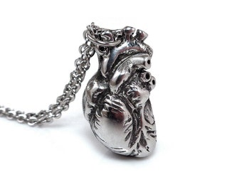 Anatomical Heart Necklace, Heart Anatomy Pendant, Anatomical Jewelry