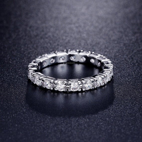 cubic zirconia eternity band stacked ring eternity