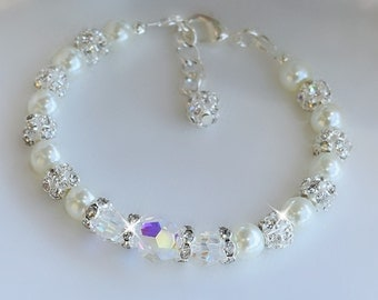 Swarovski Crystal and White Pearl Bracelet